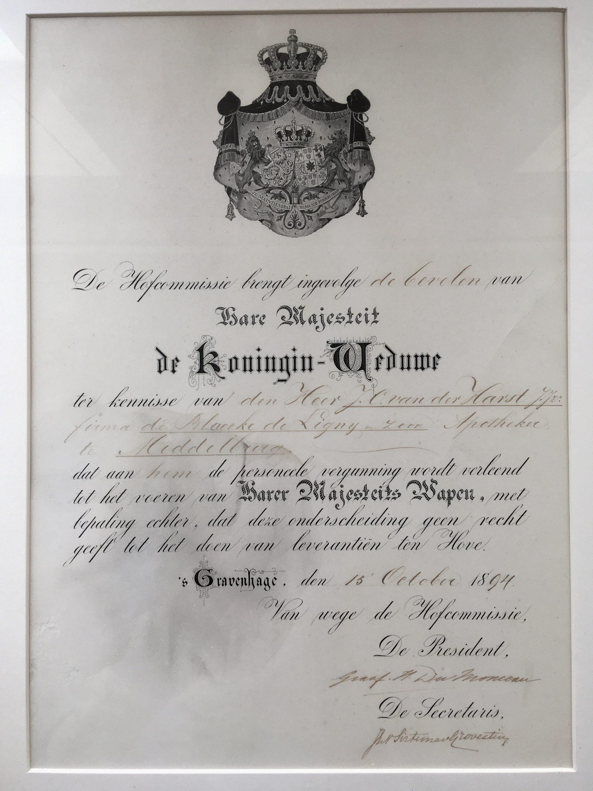 De oorkonde van koningin Emma uit 1894
