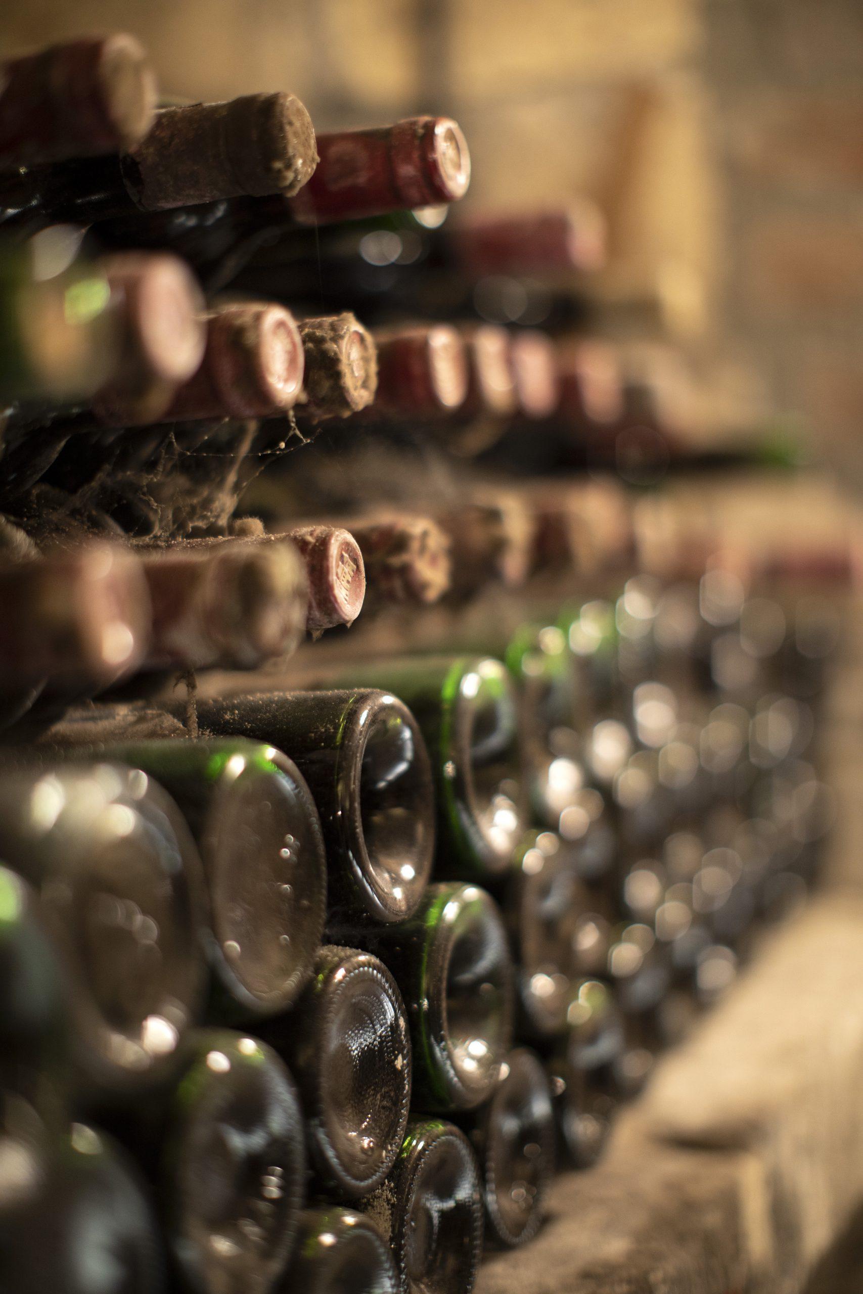 Heel veel bestofte flessen wijn in de kelders van Thiessen