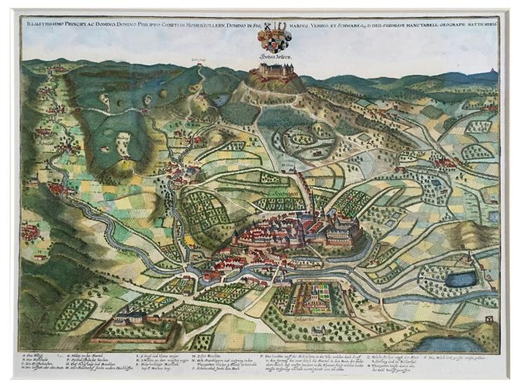 kaart van Hechingen met Burg Hohenzollern