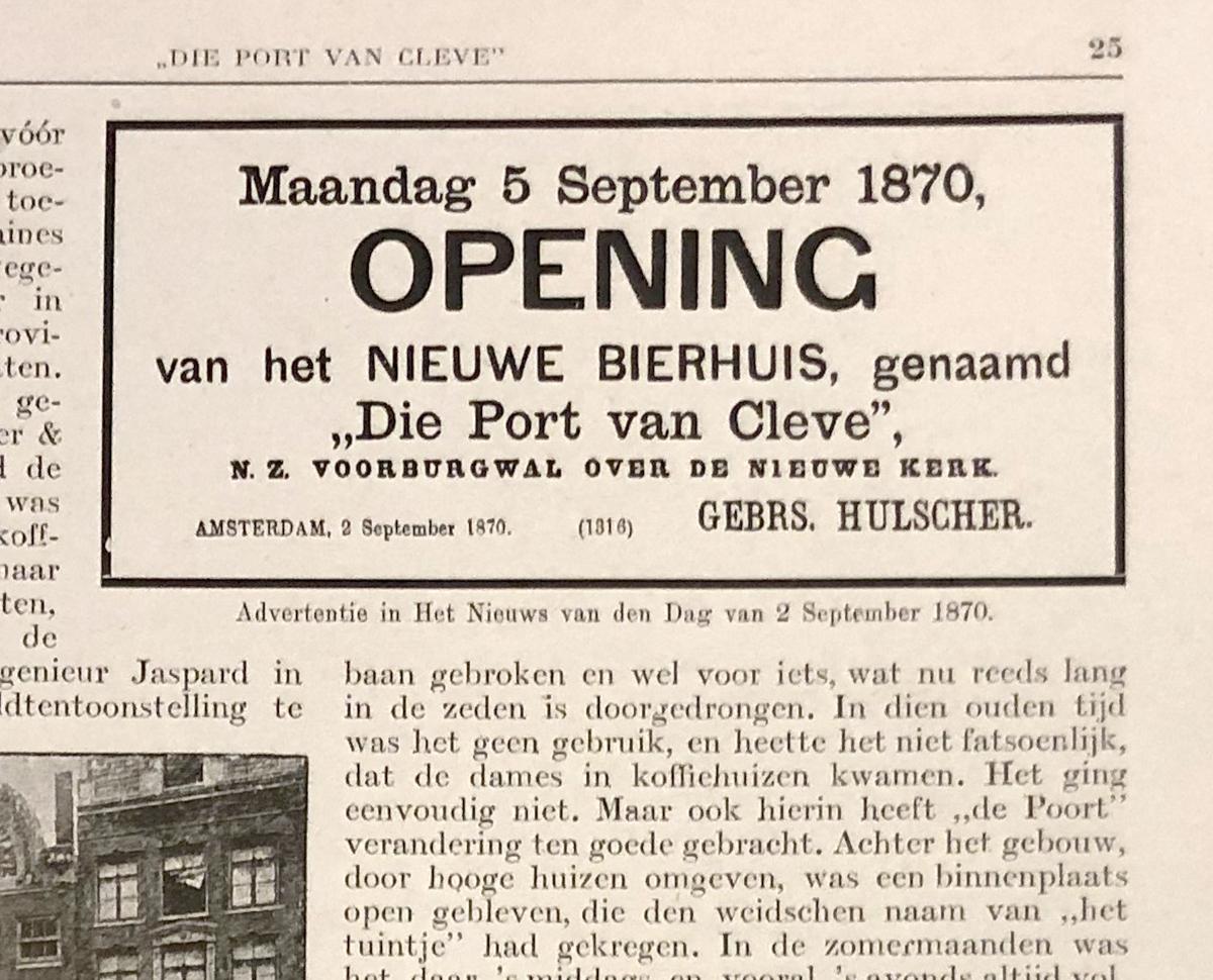 advertentie bij de opening van Bierhuis Die Port van Cleve in 1870